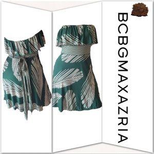BCBGMAXAZARIA Strapless Leaf Dress